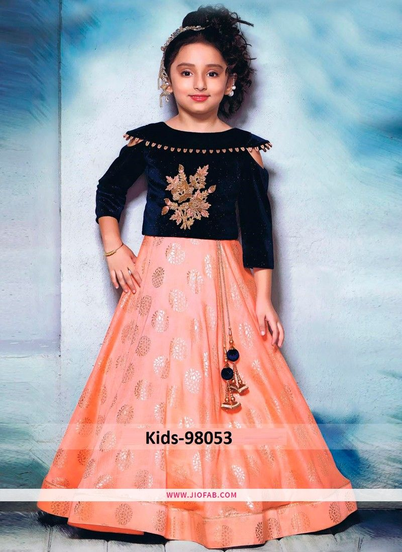e125945b6 Buy Indian Wedding Wear Small Kids Lehenga Choli In Navy And Peach Color  Online