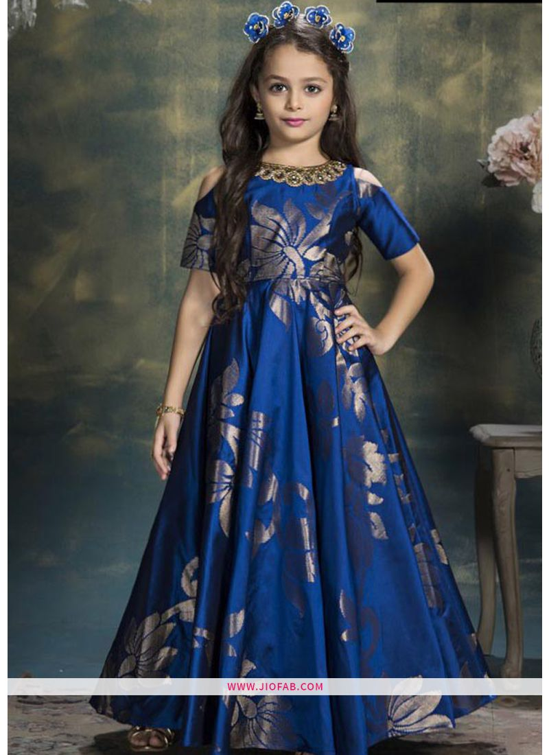 f9def73ffe4c Buy Online Kids Wear Navy Taffeta Silk Designer Gown