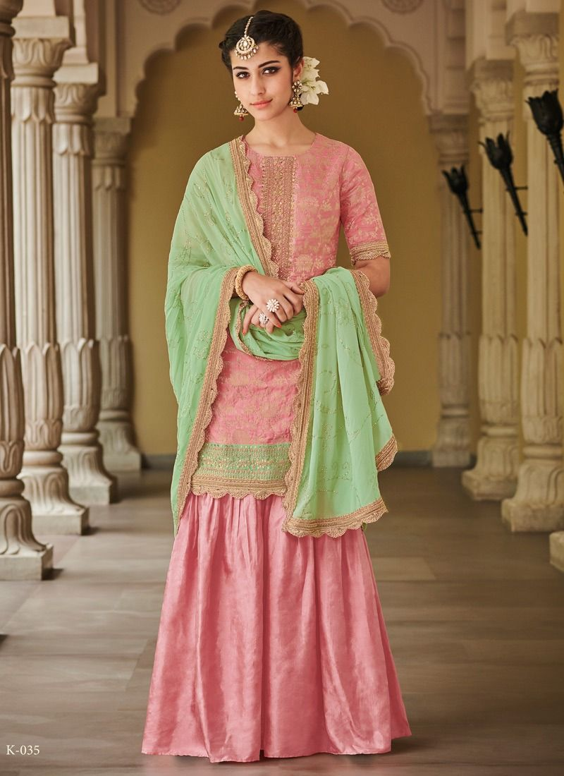 c8becd5d28f Online Purchase Kimora Fashion Present Pink Designer Palazzo Suit For  Wedding In India