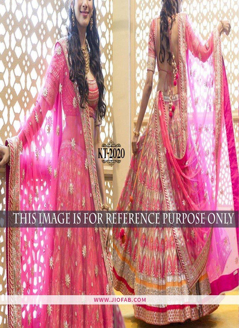 21a1e59affd KT 2020 Pink Festival Bangalore Silk Semi Stitched Wedding Lehenga Choli