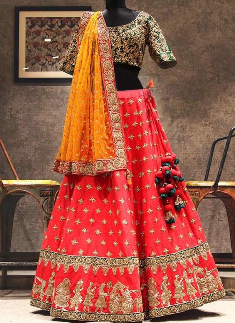 bdd4c54366 Shop Latest Arrival Red Thread Work Designer Lehenga Choli Online