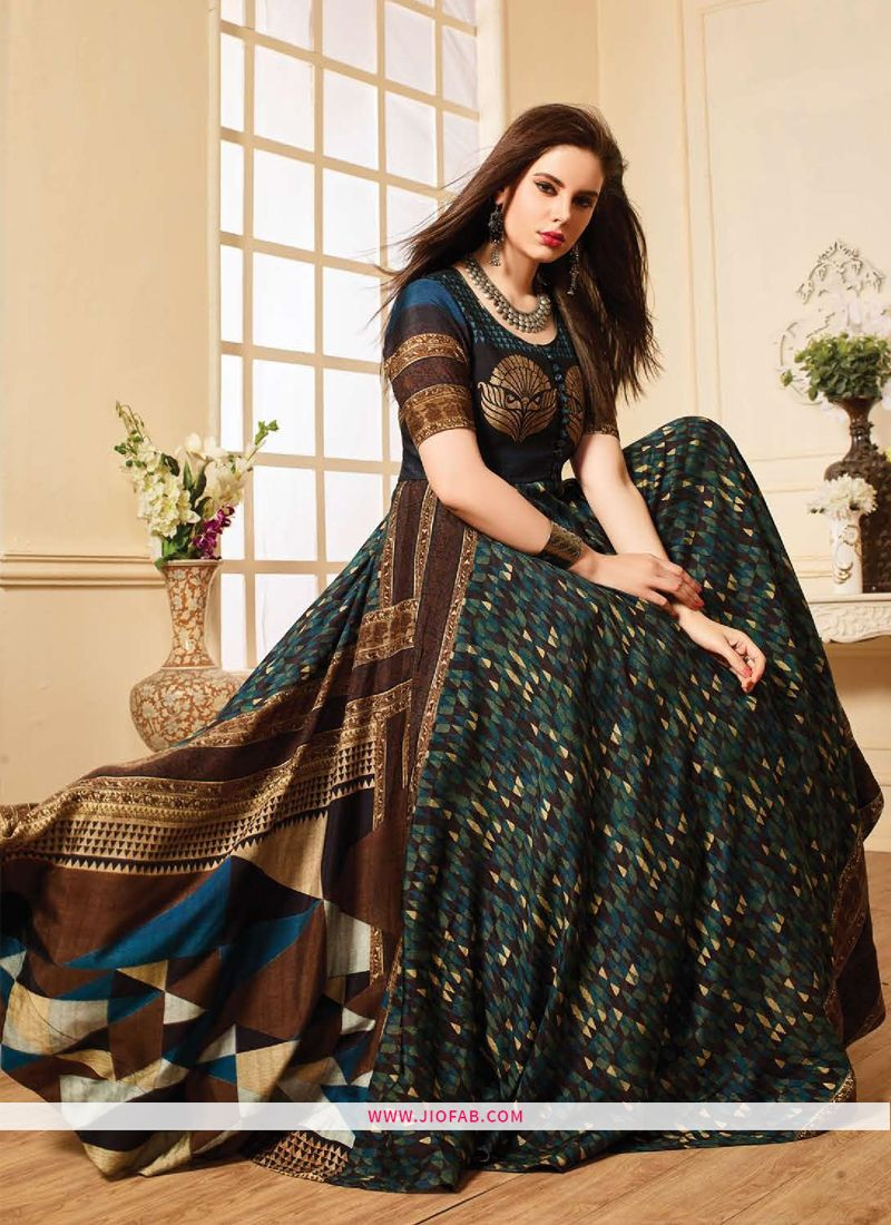 b9cfa4f0e5 Buy Latest Coffee Color Printed Gown For Partywear Online