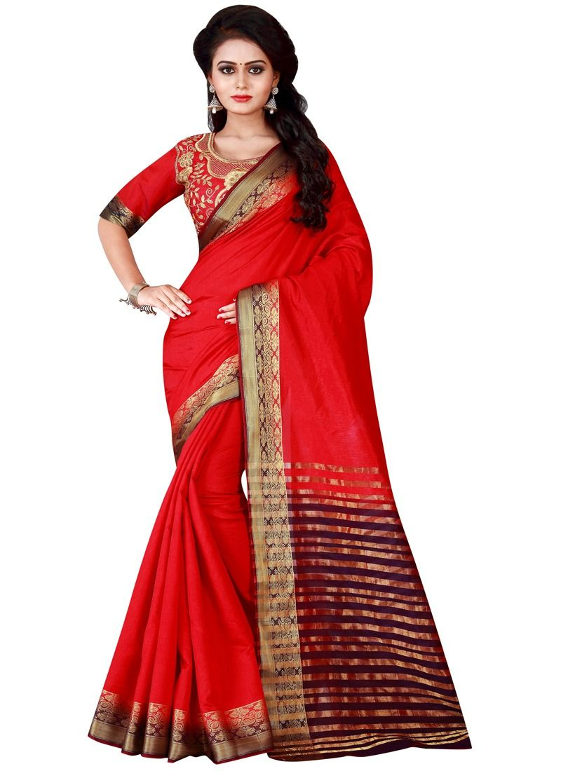 19b6c24cee Buy Online Latest Designer Red Color Weaving Cotton Silk Saree