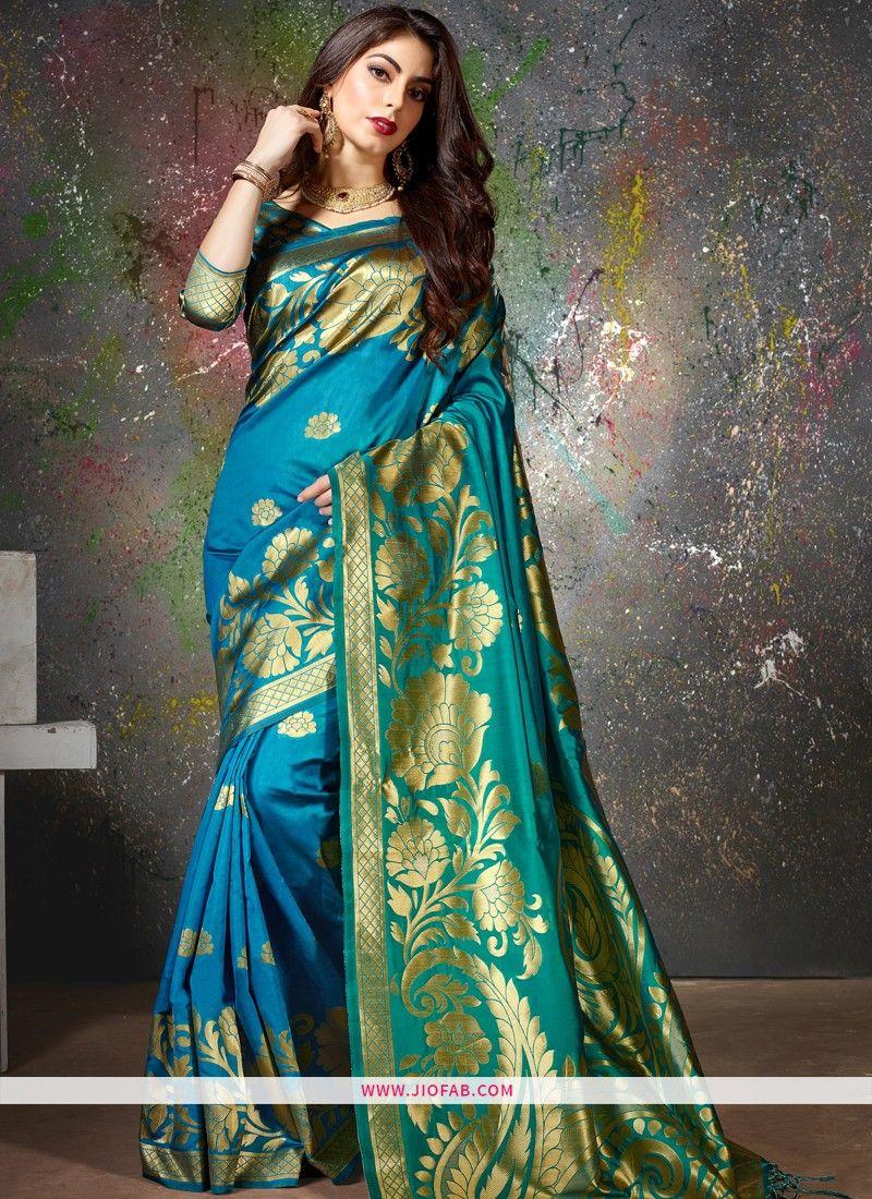 d9deba44ba Buy Latest Indian Fashion Turquoise Blue Party Wear Cotton Silk Saree Online