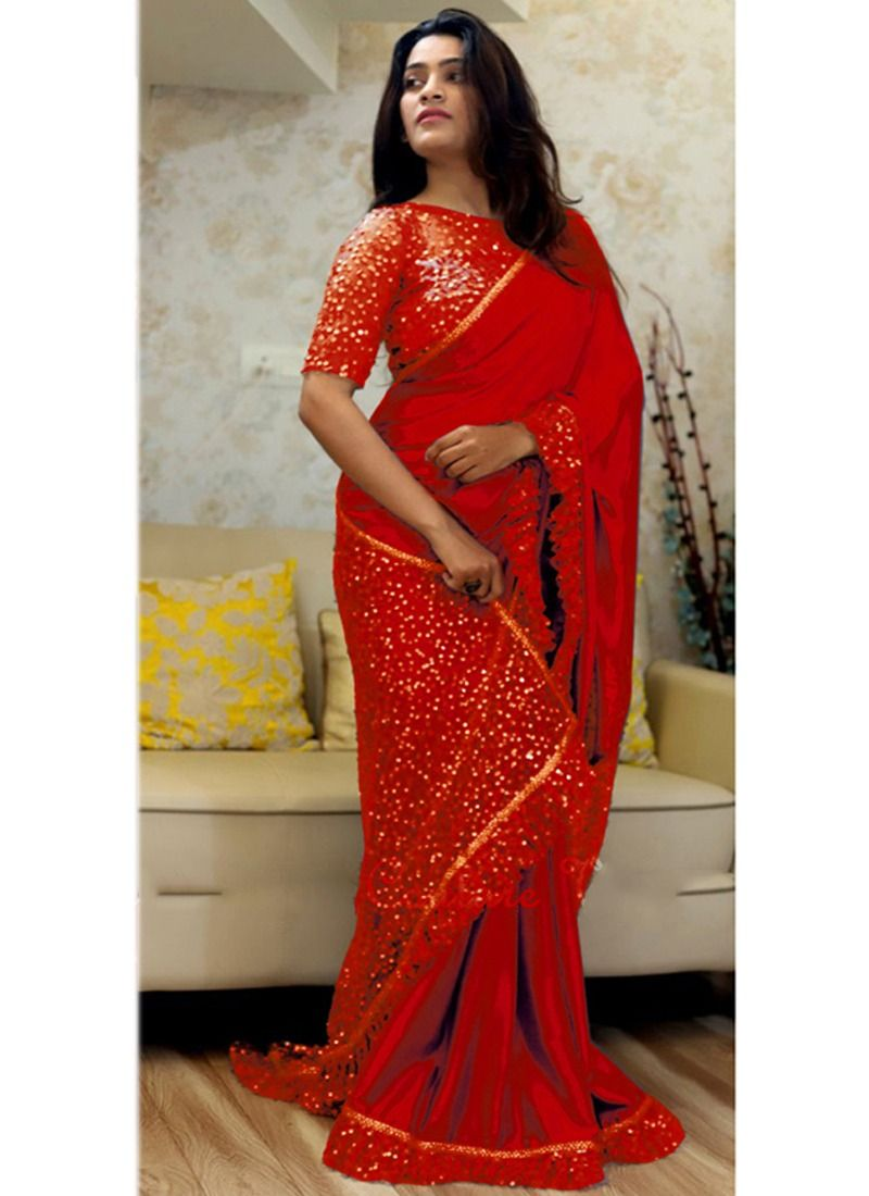 20e6932029 Shop Online Latest Indian Red Paper Silk Naylon Net Sequnce Sarees  Collection