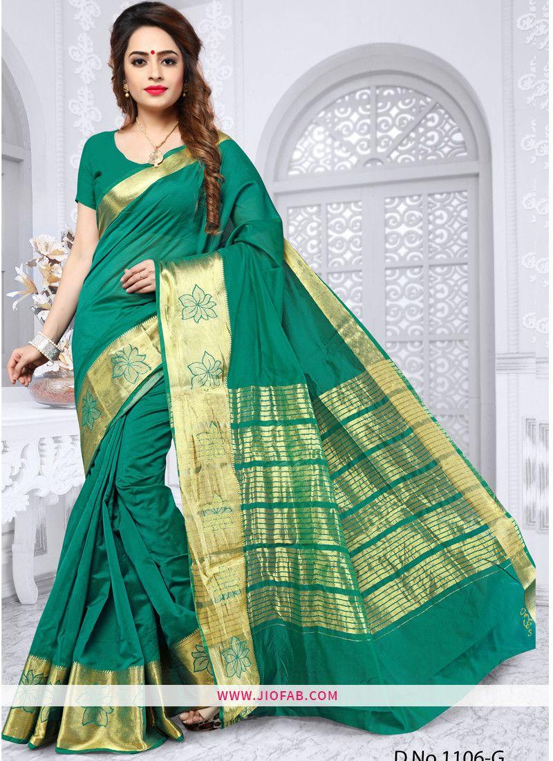 f1a0f9317e7355 Shop Latest Launched Woven Silk Vol 1 Elegant Dark Green Weaving Silk Saree  Online
