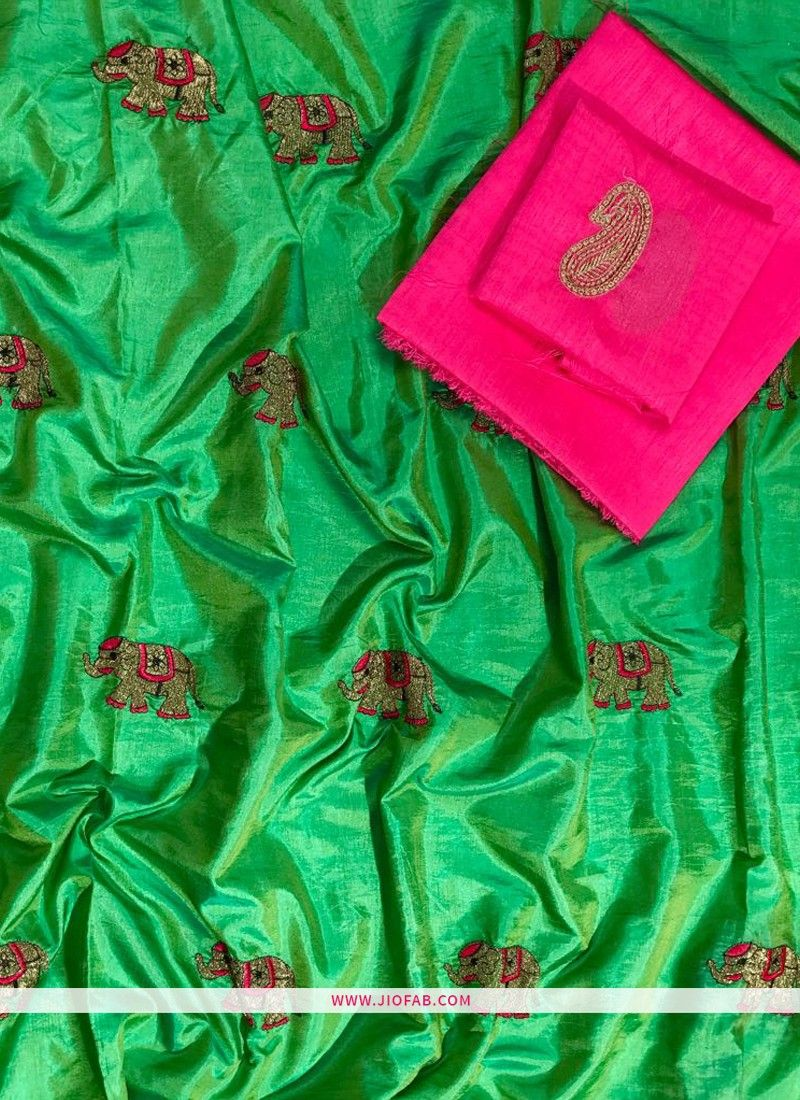 ef4cc1105b74e Buy Online Latest Parrot Embroidered Sana Silk Saree Collection