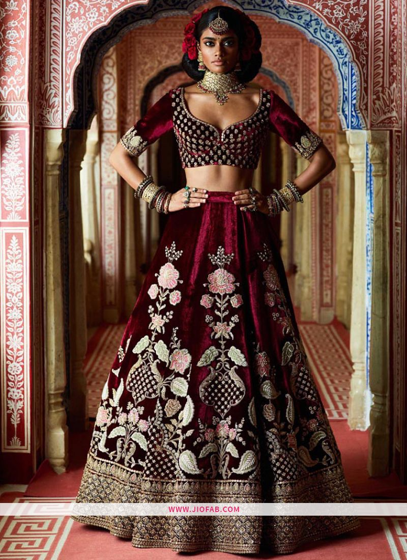 ef990a92fe Shop Online Latest Sabyasachi Collection Maroon Velvet Designer Lehenga  Choli