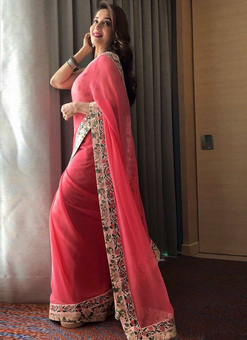 fee07a656ab7e2 Online Purchase Madhuri Dixit Bollywood Repilca Baby Pink Georgette  Designer Saree