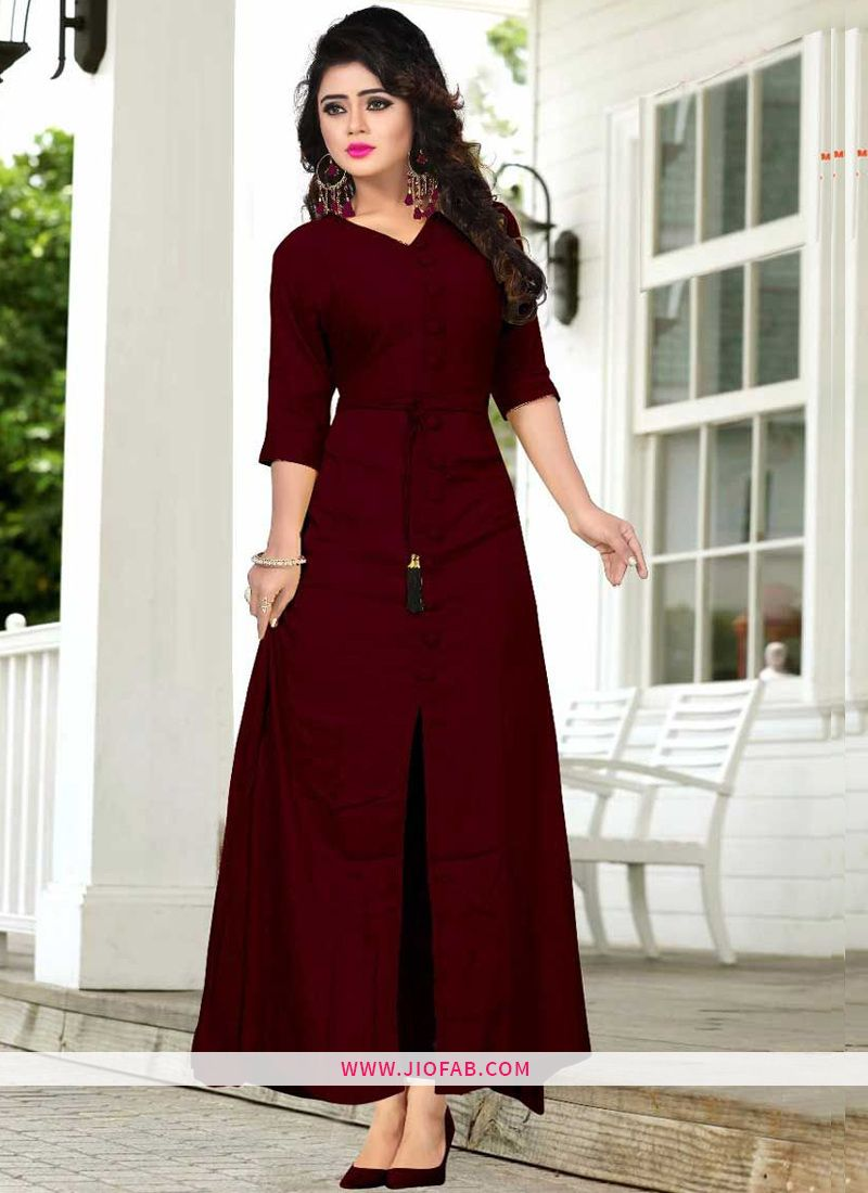 15c27e9d79 Buy Online Maroon Hit Design Long Kurti With All Buttons Stitched And Belt    Kurtis & Tunics Online India