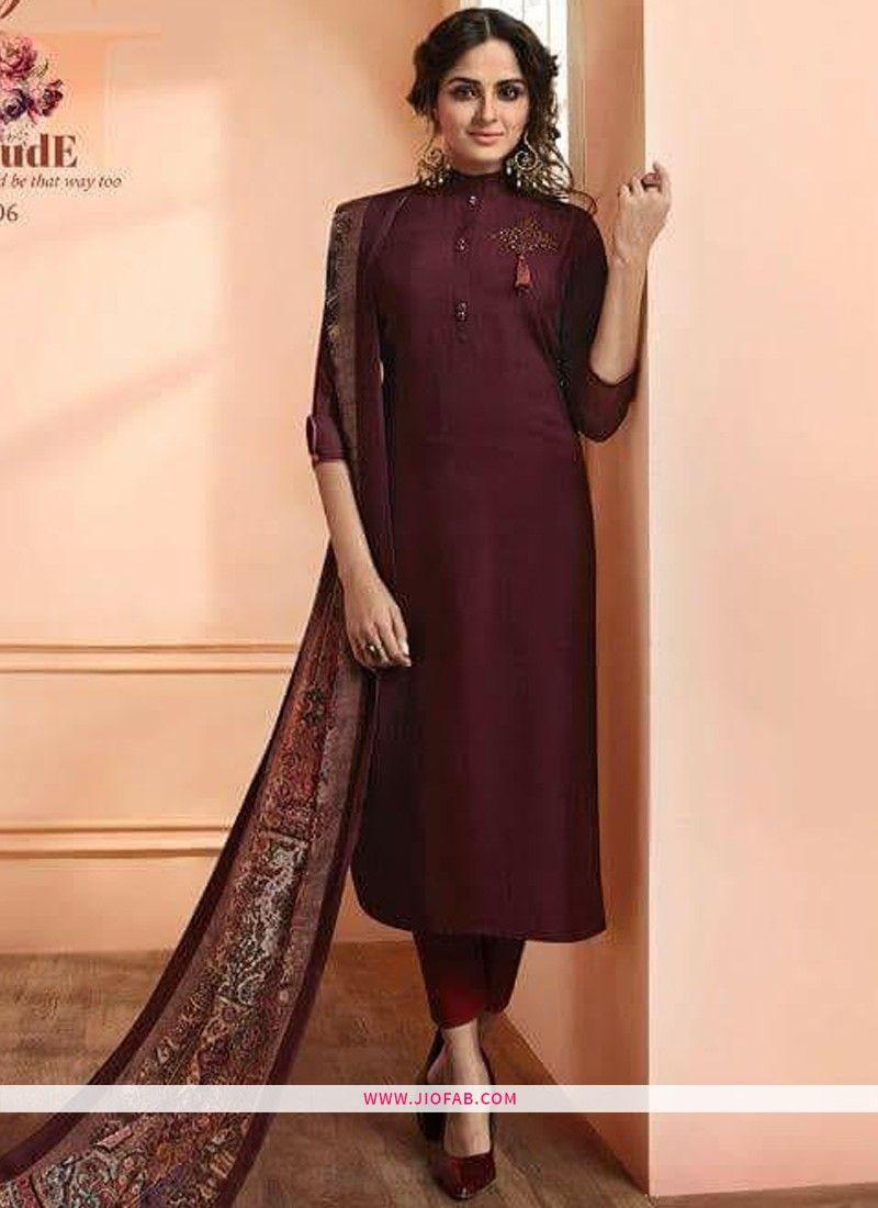fccca1c522 Buy Maroon Maslin Plain Designer Salwar Suit Online