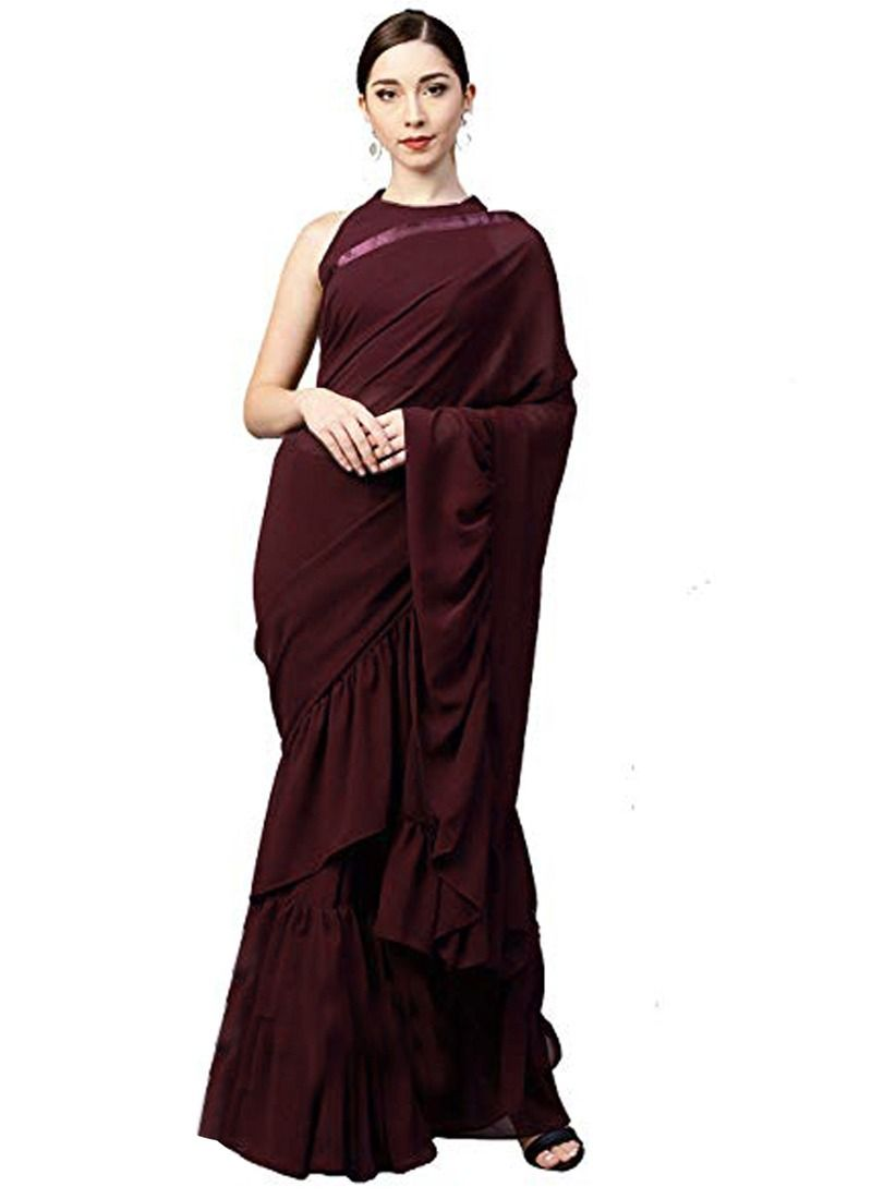 Maroon Party Wear Indian Designer Ruffle Saree With Blouse Piece