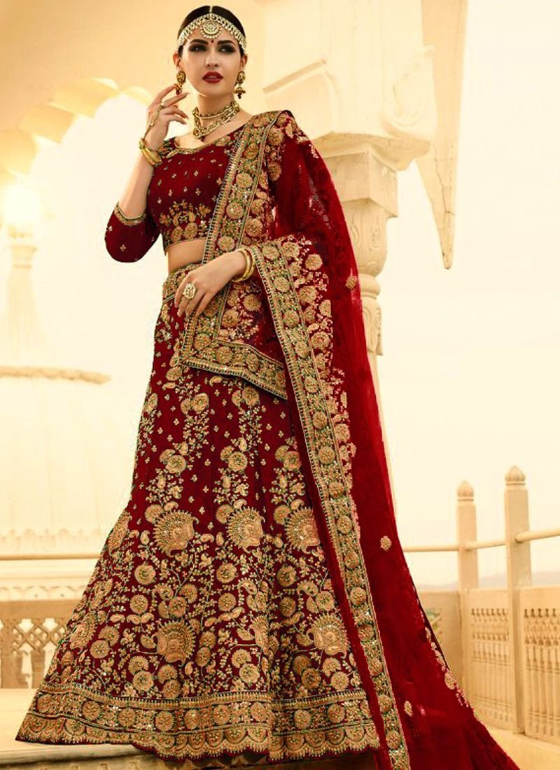 323809ff6f Online Purchase Maroon Phantom Silk Wedding Bridal Lehenga Choli With Mono  Net Dupatta