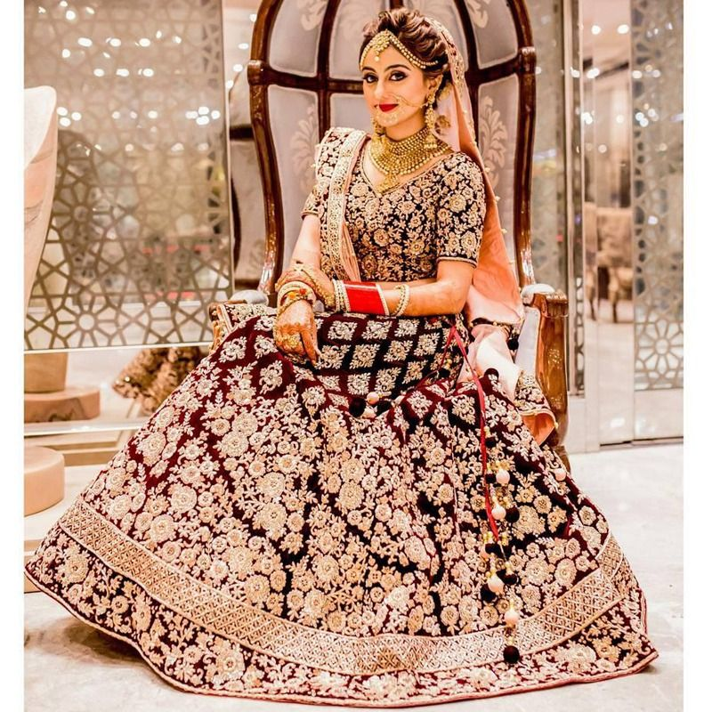 d0c66ef1bd Shop Online Maroon Pure Velvet Royal Looks Bridal Lehenga Choli With Mono  Net Dupatta