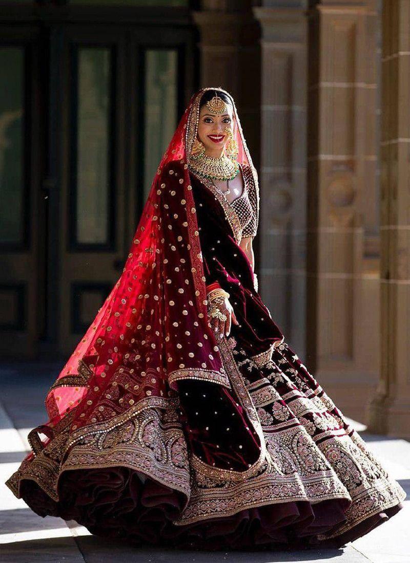 Buy Maroon Velvet Silk Bridal Lehenga Choli With Velvet Silk Dupatta Online