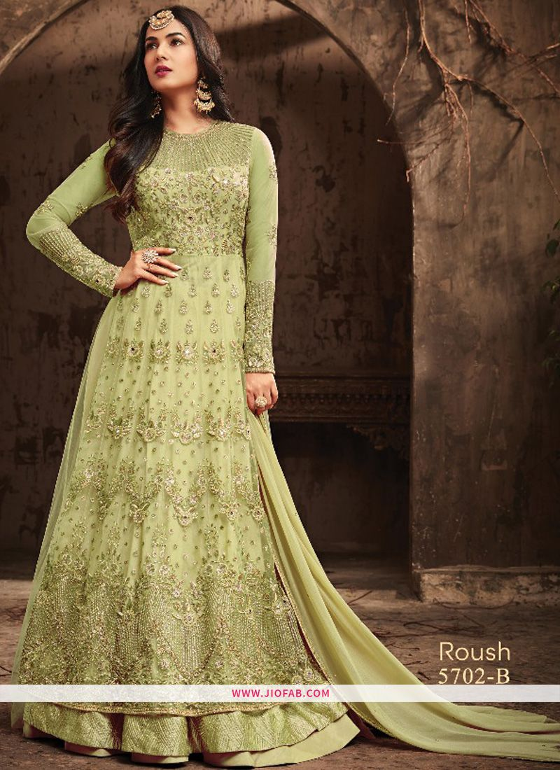 d1e1e5d7b7 Shop Online Mint Green Embroidered Heavy Net Lehenga Style Salwar Suit