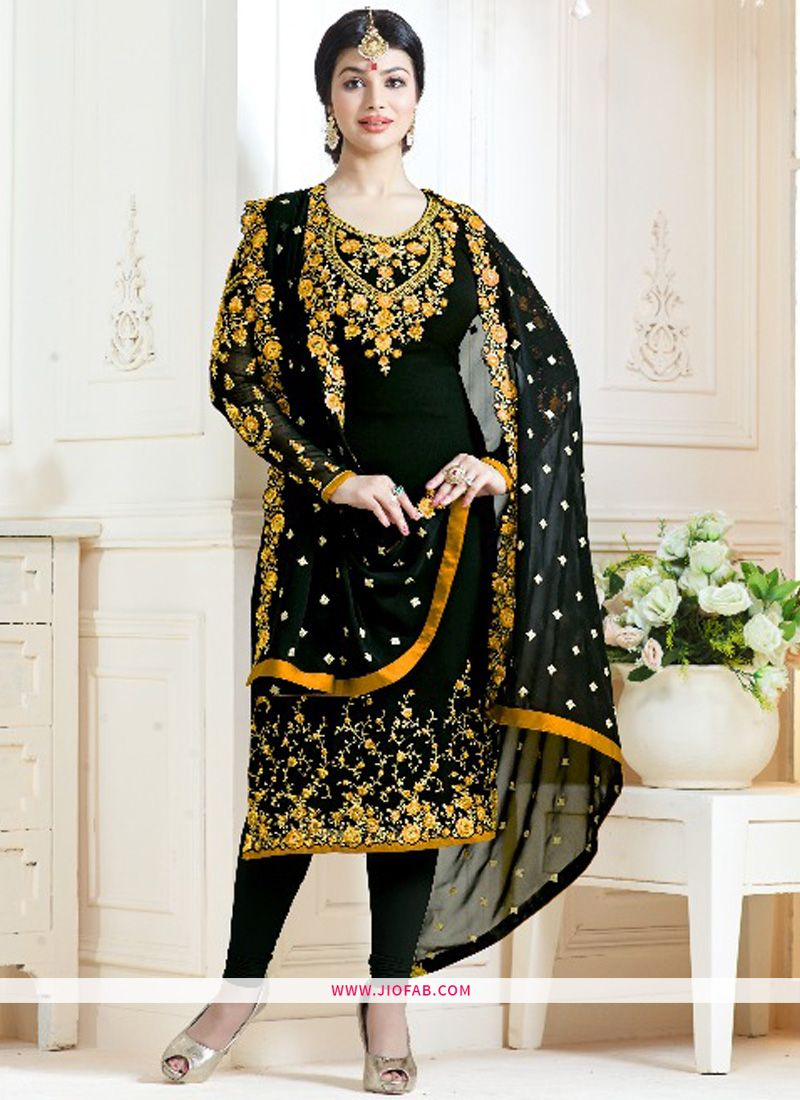 8aefc3af8b Shop Most Demanding Black And Yellow Embroidered Georgette Bollywood Salwar  Suit Online