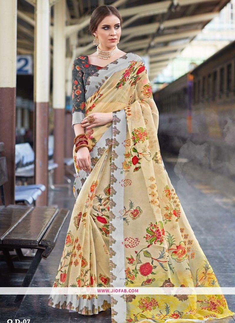 5b95dfb994 Buy Online Most Popular Cream Organza Digital Printed Indian Saree