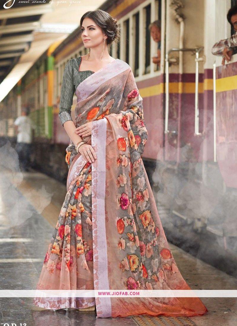 0475862821 Buy Online Most Popular Multi Color Organza Digital Printed Indian Saree