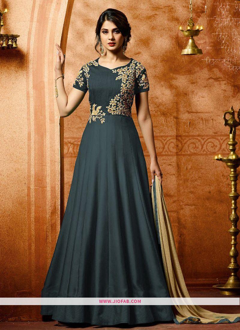 4c25e5b1b5 Shop Online Mugdha 24414 Presents Grey Designer Anarkali Salwar Suit For  Wedding