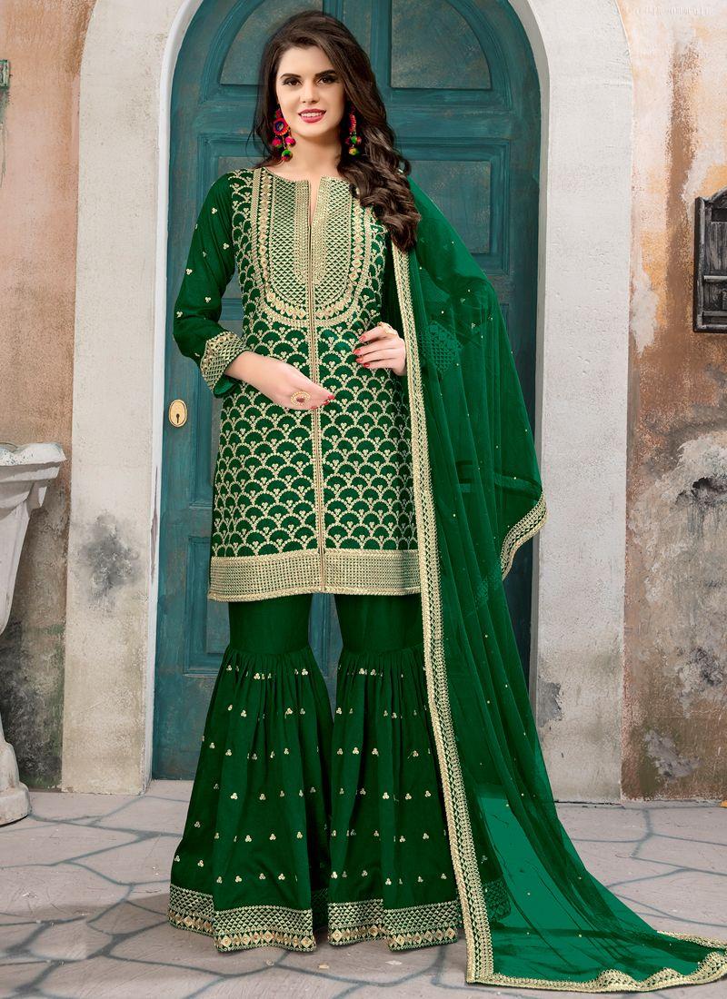 861e848f4d Buy Nature Green Art Silk Aanaya Festival Designer Punjabi Suit Online