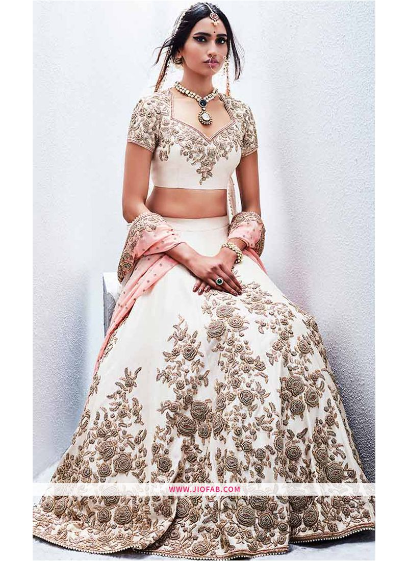 Shop Navratri Special Designer Cream Heavy Embroidery Lehenga Choli