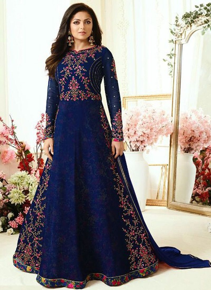a2ad942138 Buy Online Navy Colour Designer Embroidered Georgette Salwar Suit For Women