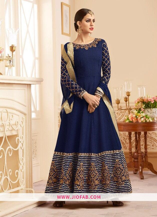 a2ea6b7812 Buy Online Navy Embroidered Partywear Traditional Salwar Suit - Best Price  And Premium Quality