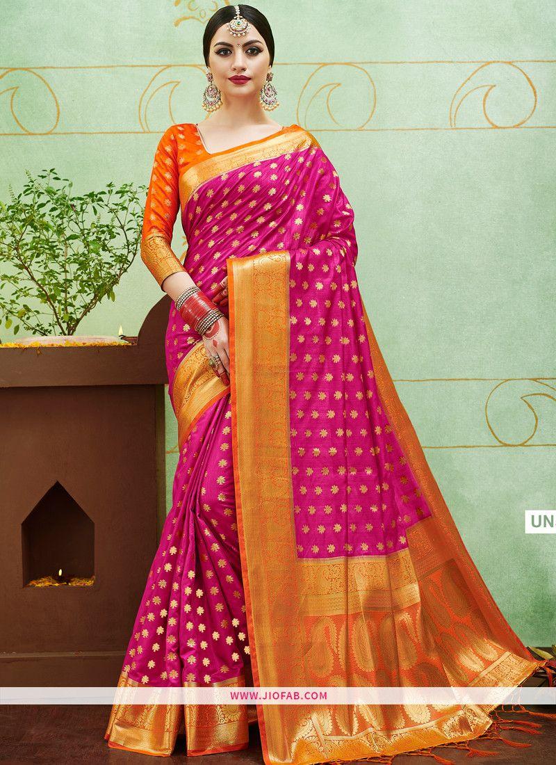 1e1512a55b Shop Online Orange Weaving Banarasi Silk Indian Bridal Saree