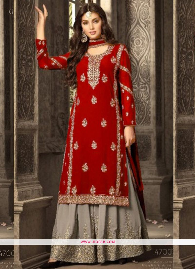 Shop Online Palazzo Style Designer Red Embroidered Georgette Indian