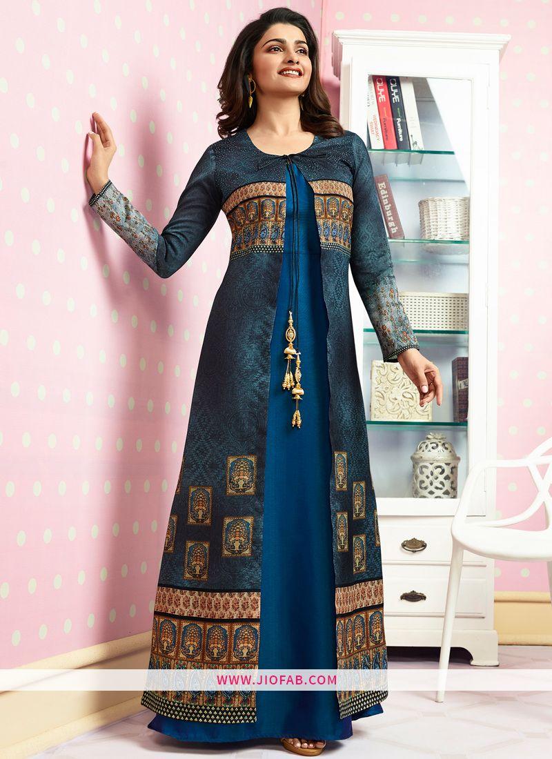 c40c524b3c Buy Party Wear Blue Crepe Print & Stone Work Designer Kurti Online In  UK,India,USA Worldwide