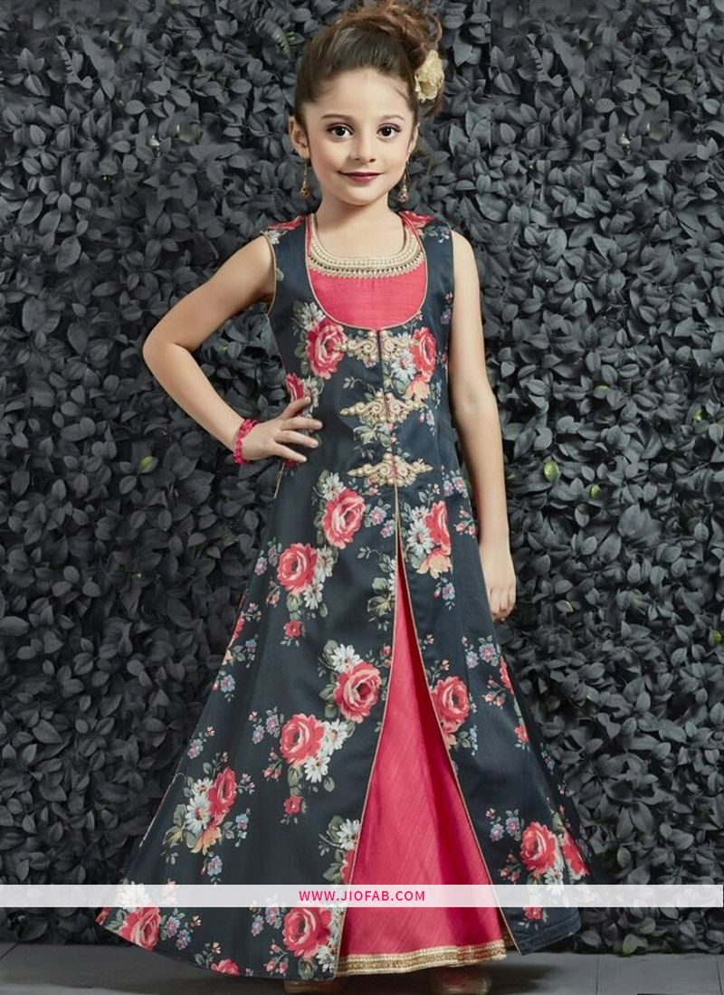 e49d63ed705 Online Purchase Party Wear Kids Gown In Lotus Pink And Black Color