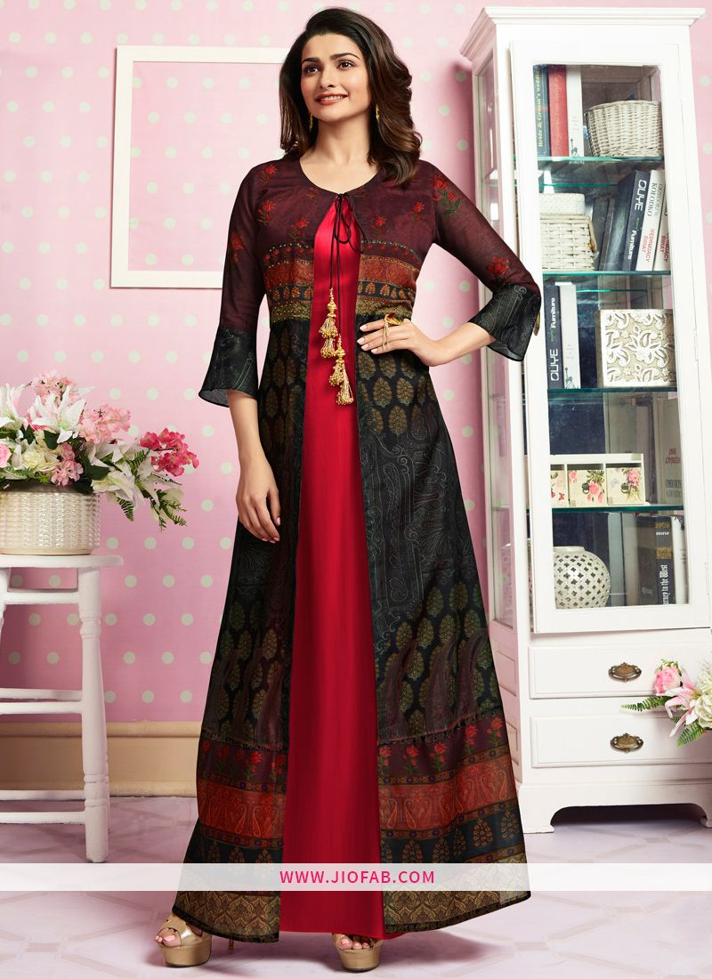 ba5b9c9a7a Buy Party Wear Red Crepe Print And Stone Work Designer Kurti Online In  UK,India,USA Worldwide