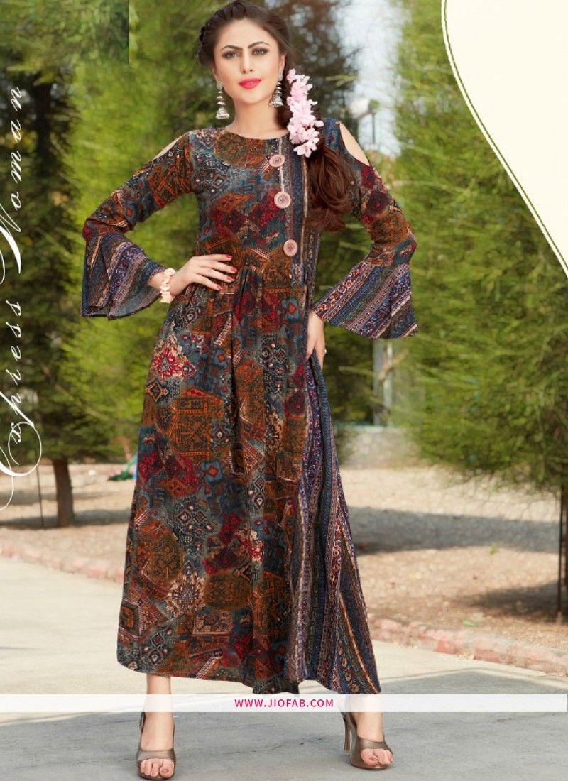 2a69c9720f Shop Online Partywear Designer Multi Color Heavy Rayon Fancy Kurti