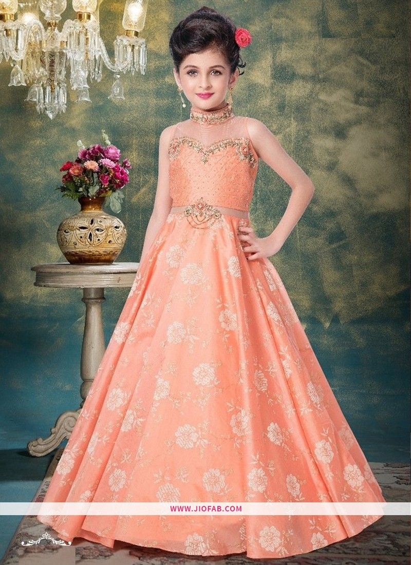 Partywear Frock Design Ideas For Little Dresses In Light Peach Color Online