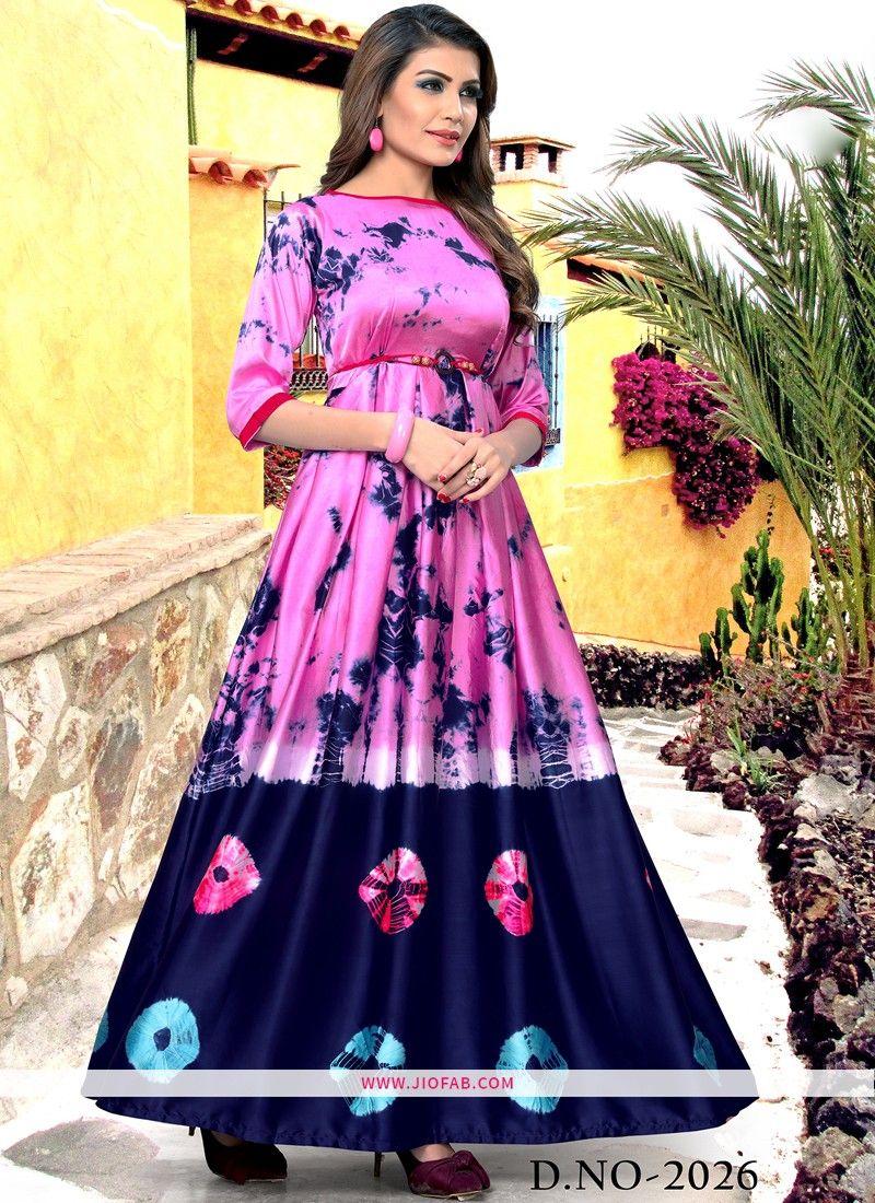 d4a56c0582 Shop Partywear Light Pink And Blue Taiwan Satin Printed Fancy Kurti Online