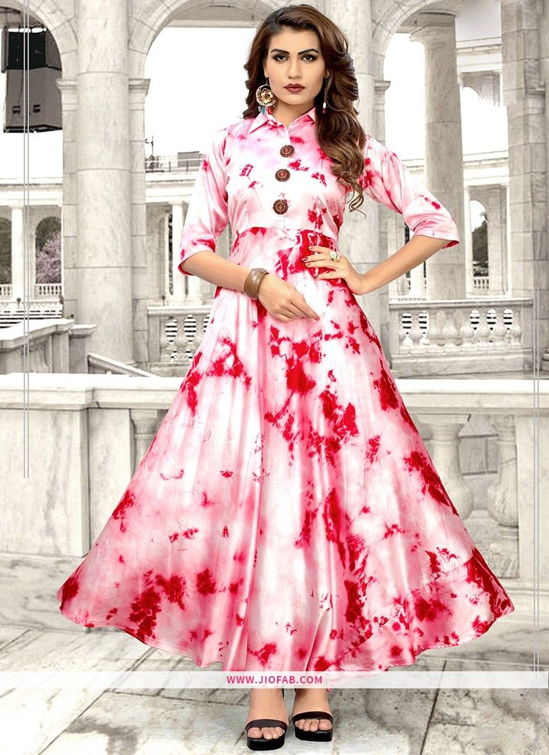 0acbce0435b Shop Partywear Silver And Red Taiwan Satin Printed Fancy Kurti Online