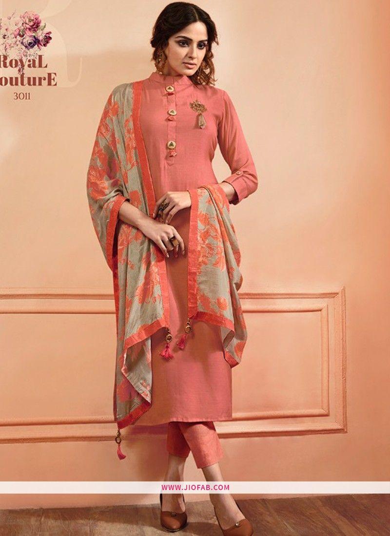db4d0650b Shop Peach Maslin Plain Designer Salwar Suit Online