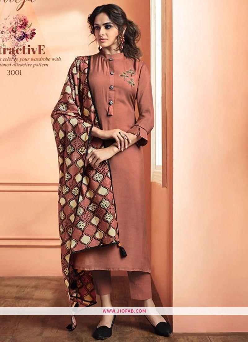 ac8db12894 Buy Online Peach Maslin Plain Designer Salwar Suit