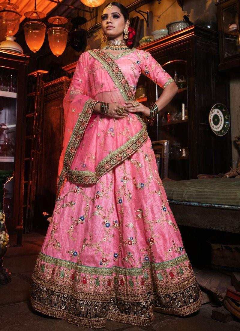0ce08d801c Buy Pink Art Silk Designer Lehenga Choli For Engagement Online