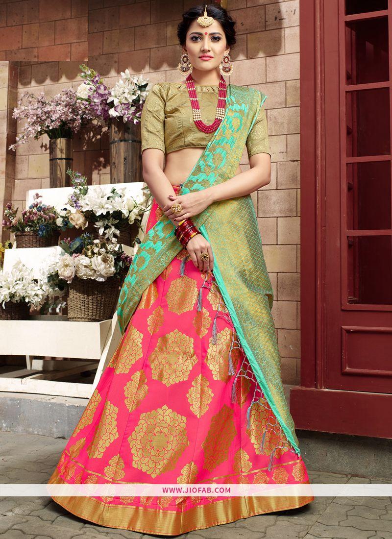 4bf80932c7 Buy Pink Banarasi Silk Latest Party Wear Sabyasachi Lehenga Choli Online
