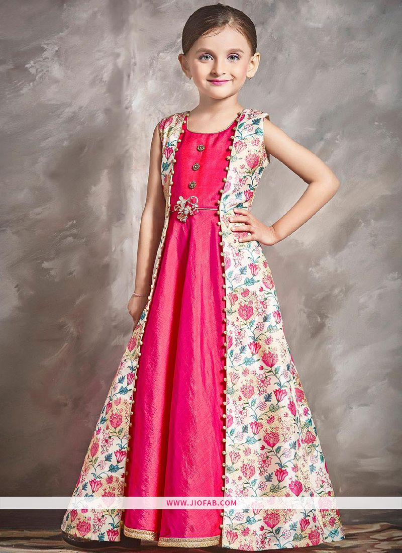 38cbdae842a2 Buy Pink Color Banarasi Designer Gown For Kids Girl Online