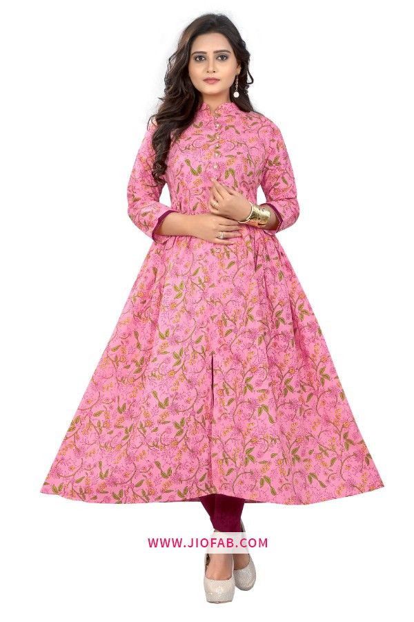 2bd8f0c03ae Buy Online Pink Cotton Fabric Printed Stitched Festival Partywear Kurti In  India