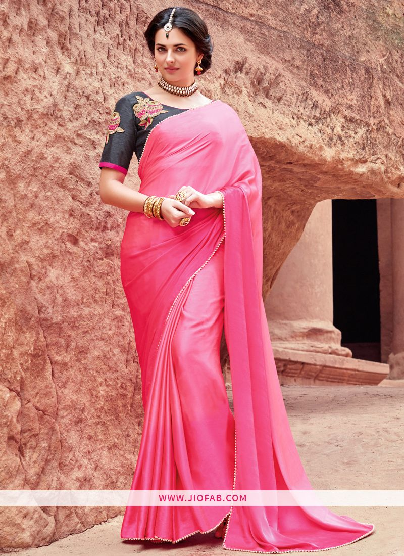 05399bed70 Buy Online Pink Satin Silk Designer Saree With Moti Border And Bangalori  Silk Embroidered Blouse In India,Fiji