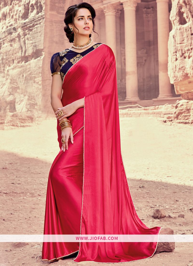 27069b28ce Shop OnlinePink Satin Silk Designer Saree With Moti Border And Bangalori  Silk Embroidered Blouse In Uk,Us