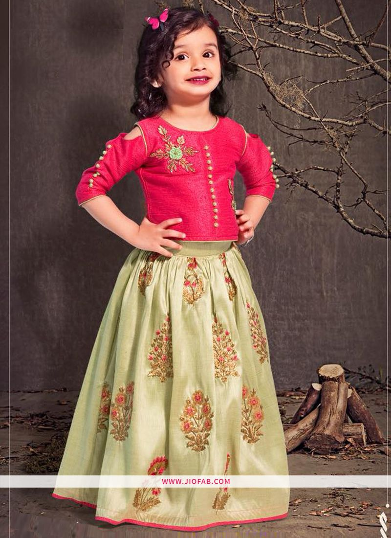 db19e44ed1 Buy Online Pista Color Malbari Silk Designer Lehenga Choli For Kids Girl