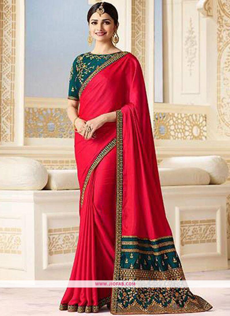 93db5c27cfa Shop Prachi Desai Bollywood Repilca Red Sparkle Silk Designer Saree Online