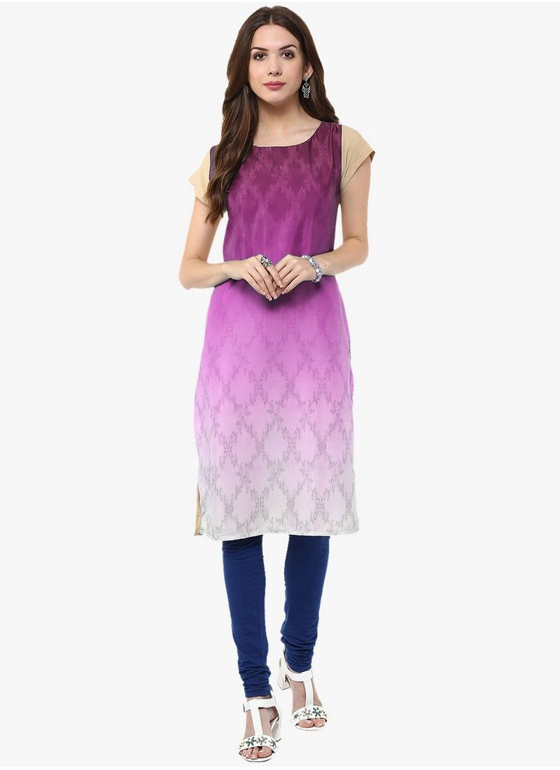 Purple Office Wear Printed Straight Kurtis