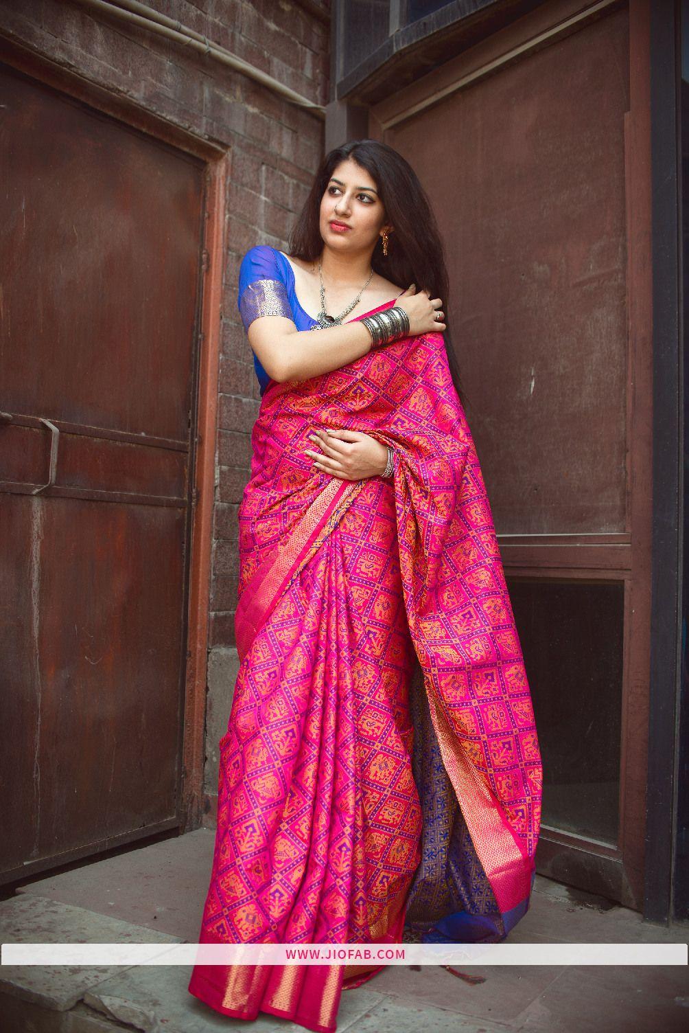 5cc3633aa Buy Rani Pink Patola Silk Saree India With Best Price In India - Jiofab