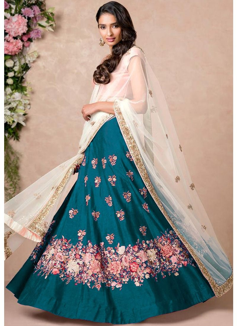 f82b9ee85d Buy Raw Silk Resham Embroidery Heavy Bridal Lehenga Choli In Teal Blue Color  Online